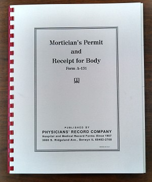 A-131 Mortician's Permit and Receipt for Body